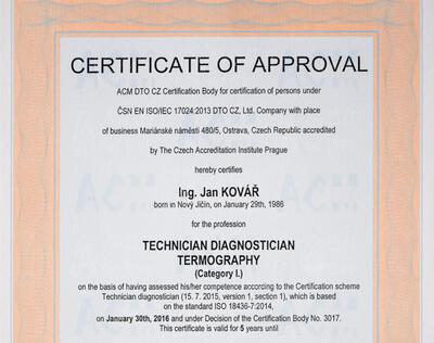 Školenie Prípravný kurz pre certifikáciu v termografii